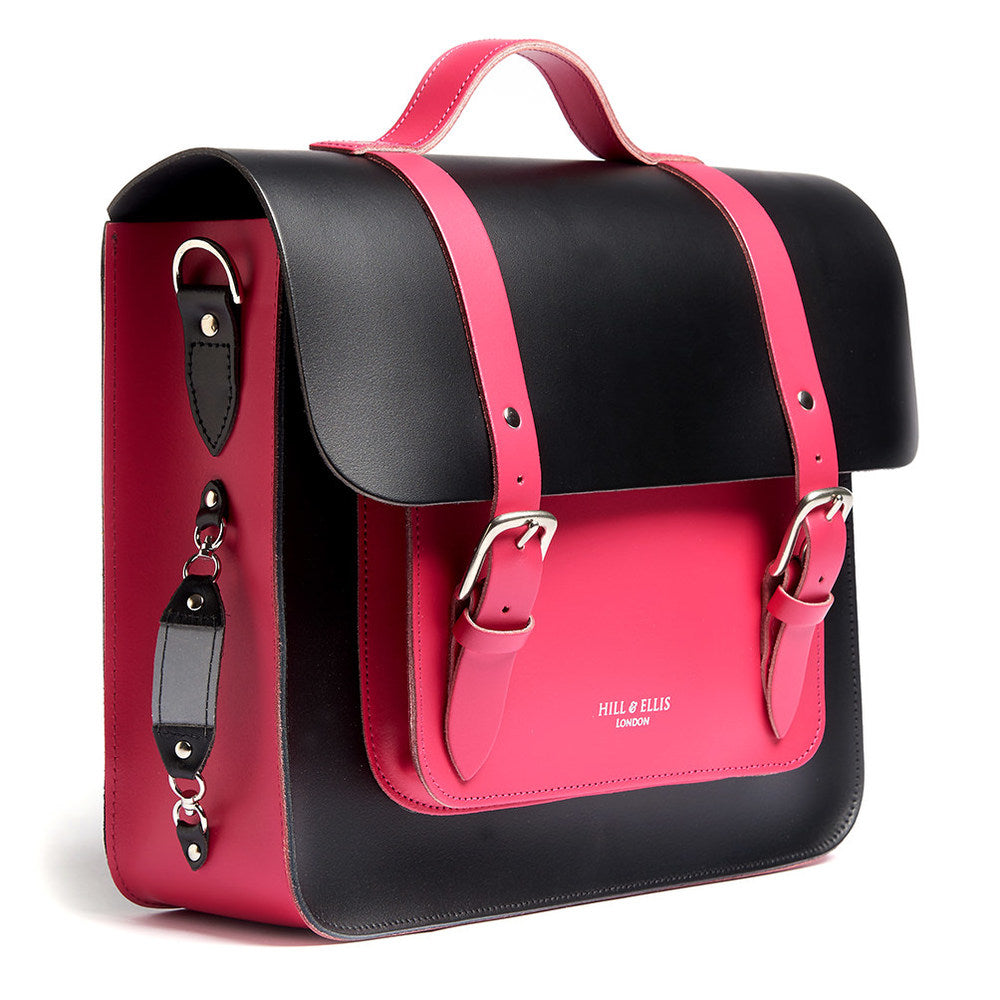 Pink and Black Leather Satchel Cycle Bag with reflective detail
