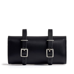 Load image into Gallery viewer, Black & Silver Leather Saddle Bag