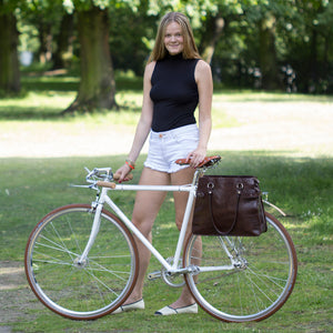 Hill and Ellis Dorothy handbag cycling bag on bicycle