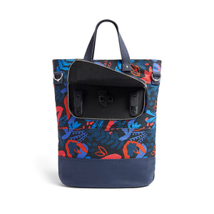 Load image into Gallery viewer, Hill and Ellis Ada floral print canvas cycling bag pannier hooks
