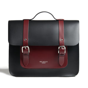 Black and Burgundy leather cycle satchel bag front