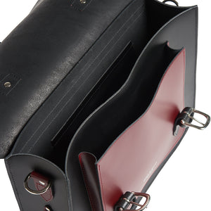 Black and Burgundy leather cycle satchel bag inside
