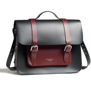 Black and Burgundy leather cycle satchel bag with shoulder strap