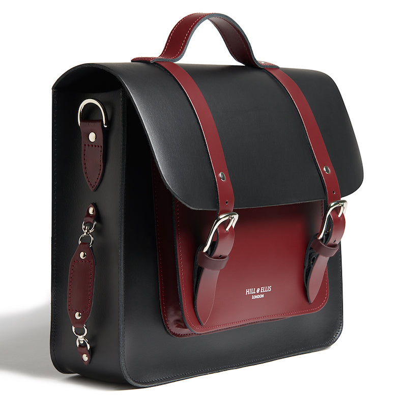 Black and Burgundy leather cycle satchel bag side