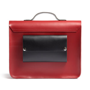 Red leather satchel cycling bag back view