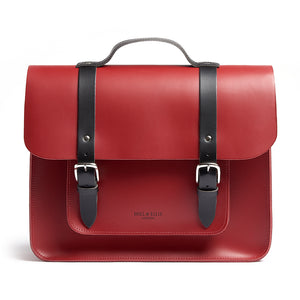 Red leather satchel cycling bag front view