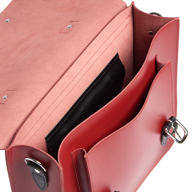 Red leather satchel cycling bag inside view