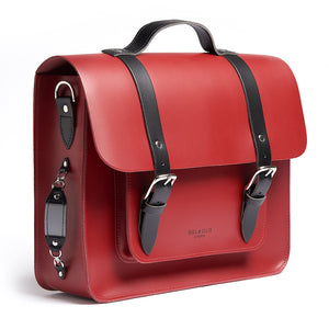 Red leather satchel cycle bag with reflective detailing