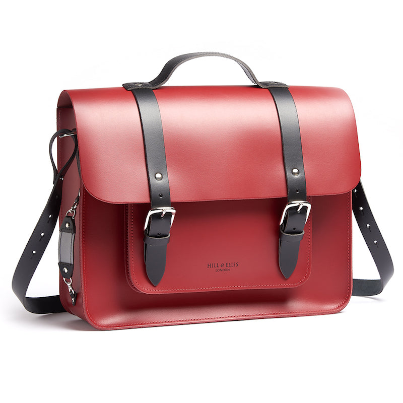 Red leather satchel cycle bag with shoulder strap