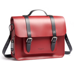 Red leather satchel cycling bag with shoulder strap
