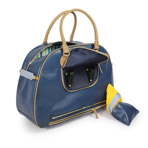 Blue and tan leather cycling bag with pannier hooks