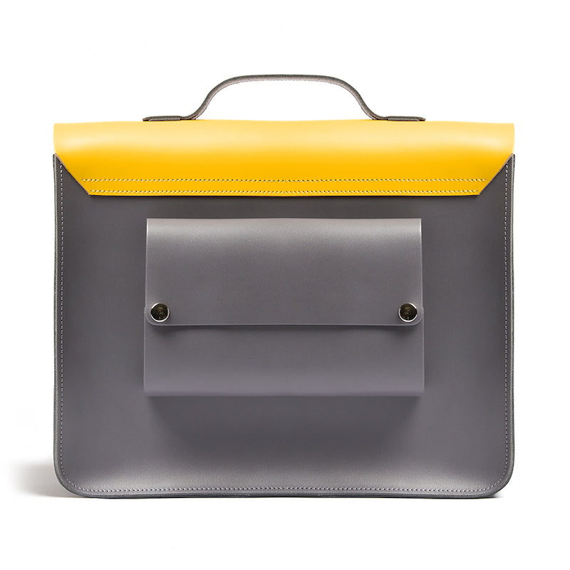 Yellow leather satchel cycle bag back view