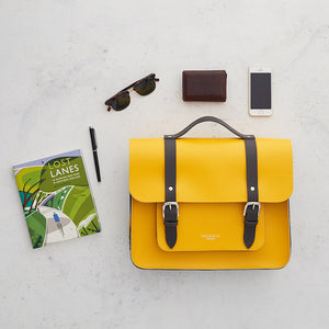 Yellow leather satchel cycle bag
