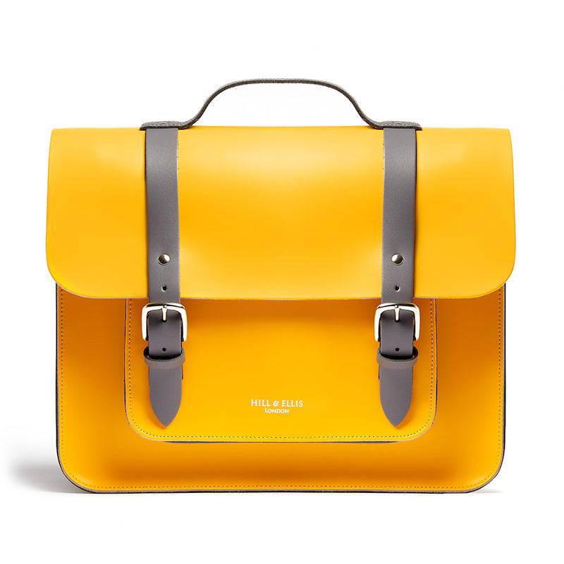 Bright yellow leather satchel cycle bag front view