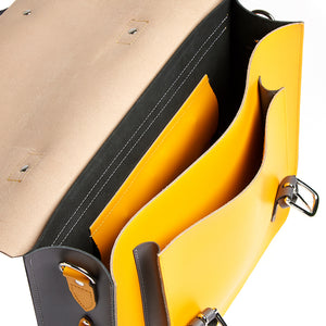 Inside detail of Yellow leather satchel cycle bag