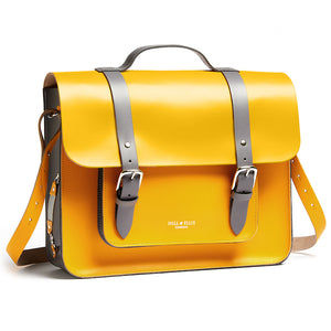 Yellow leather satchel cycle bag with shoulder strap