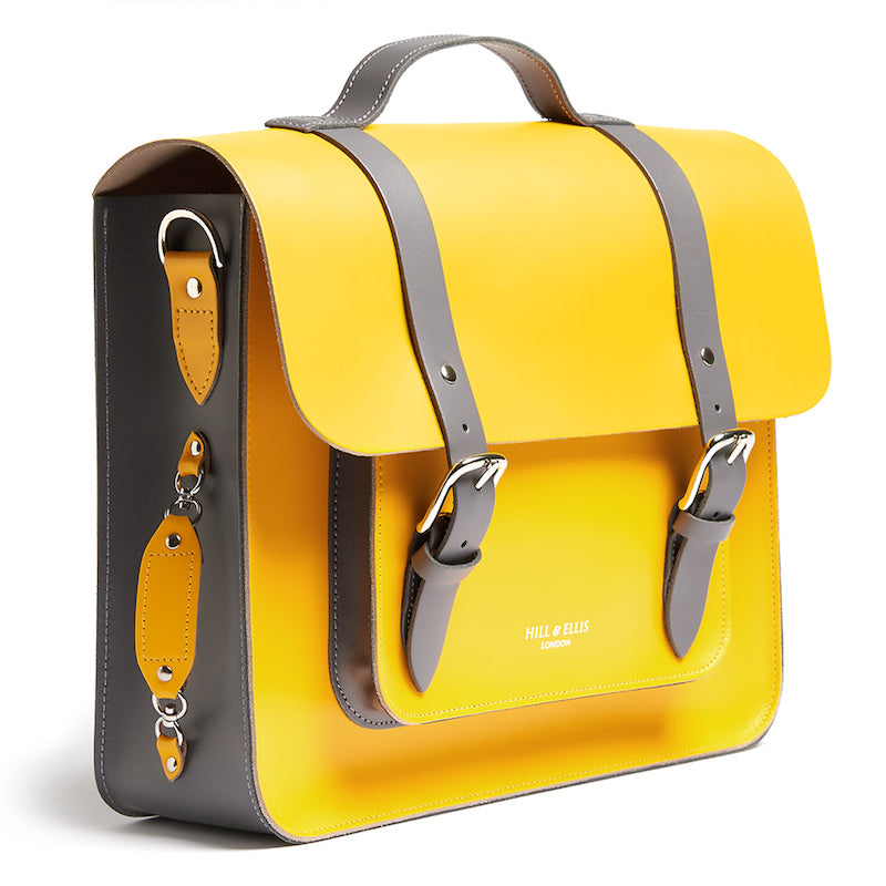 Bright yellow leather satchel cycle bag side view