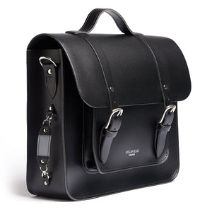 Black satchel cycle bag with reflective detailing