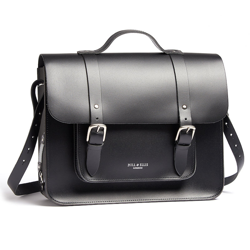 Black satchel cycle bag with shoulder strap