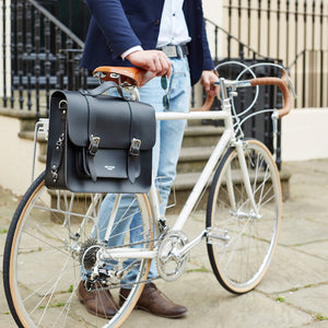 Black satchel cycle bag on bicycle