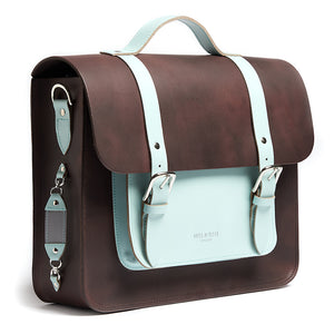 Brown and mint leather satchel cycle bag with reflective detailing