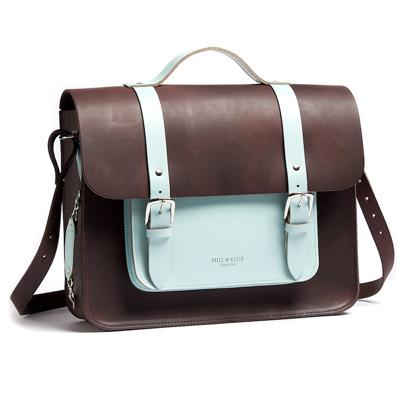 Brown and mint leather satchel cycle bag with shoulder strap