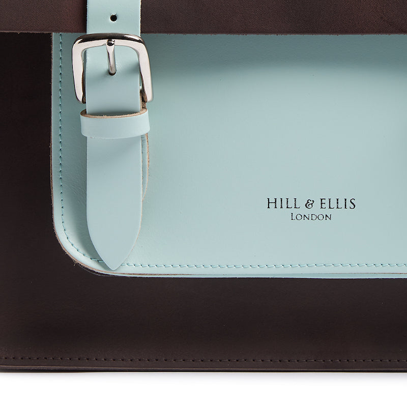 Load image into Gallery viewer, Brown and mint leather cycle bag detail