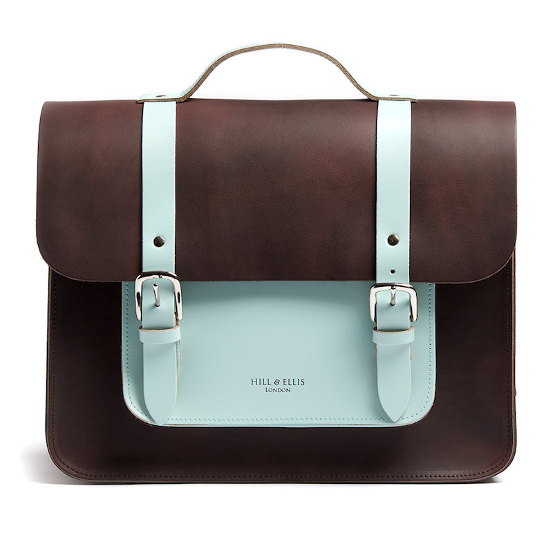 Load image into Gallery viewer, Brown and mint satchel cycle bag front view