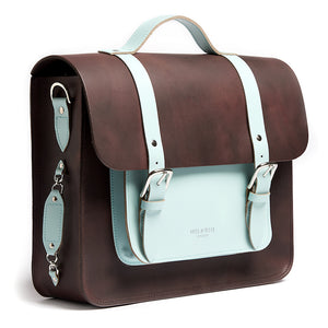 Brown and mint leather satchel cycle bag side detail