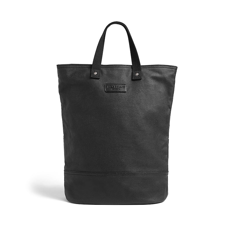 Hill and Ellis Dylan Black with Black Metalware canvas bike bag front