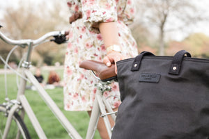 Black and copper canvas cycling bag on bike