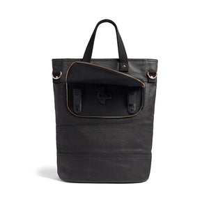 Black and copper canvas cycling bag back