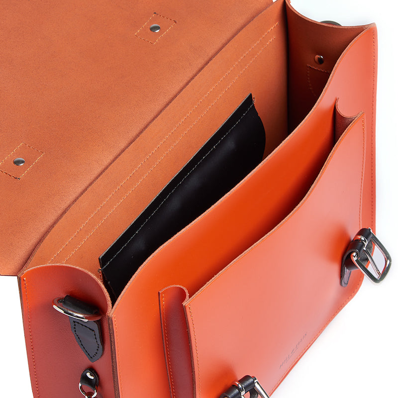 Orange leather satchel cycle bag inside detail