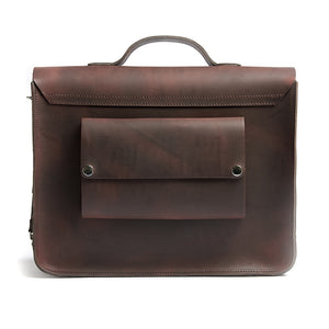 Hill and Ellis Freddie satchel cycle bag in brown back