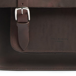 Hill and Ellis Freddie satchel cycle bag in brown detail