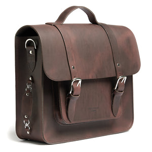 Hill and Ellis Freddie satchel cycle bag in brown side