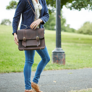 Hill and Ellis Freddie satchel cycle bag in brown on model