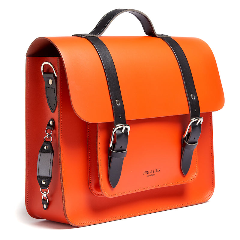 Orange leather satchel cycle bag with reflective detail
