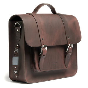 Hill and Ellis Freddie satchel cycle bag brown with reflective detail