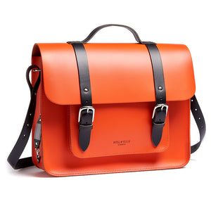 Orange leather satchel cycle bag with shoulder strap