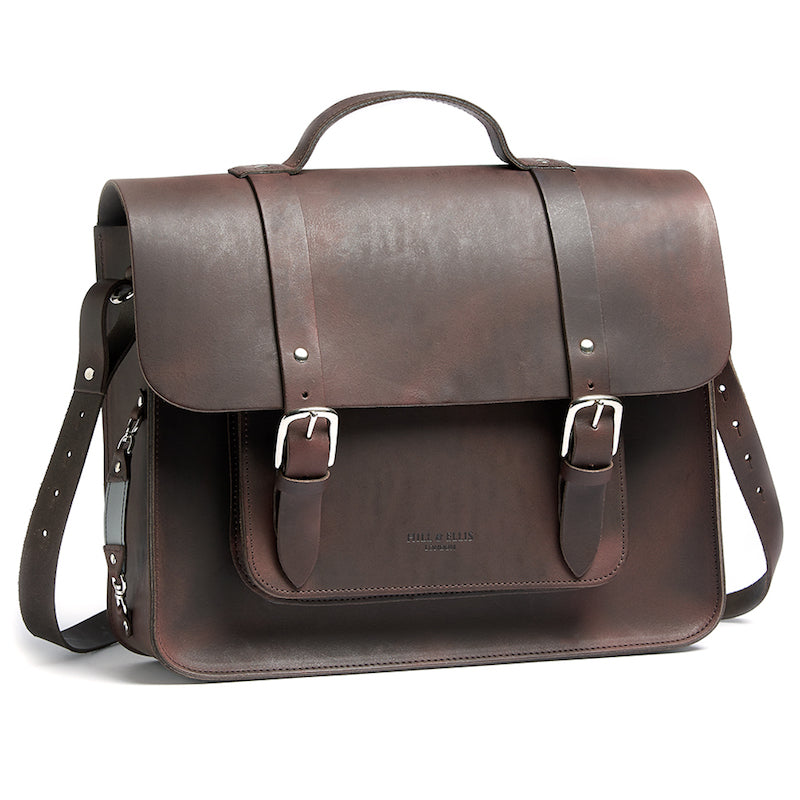 Hill and Ellis Freddie satchel cycle bag brown with shoulder strap