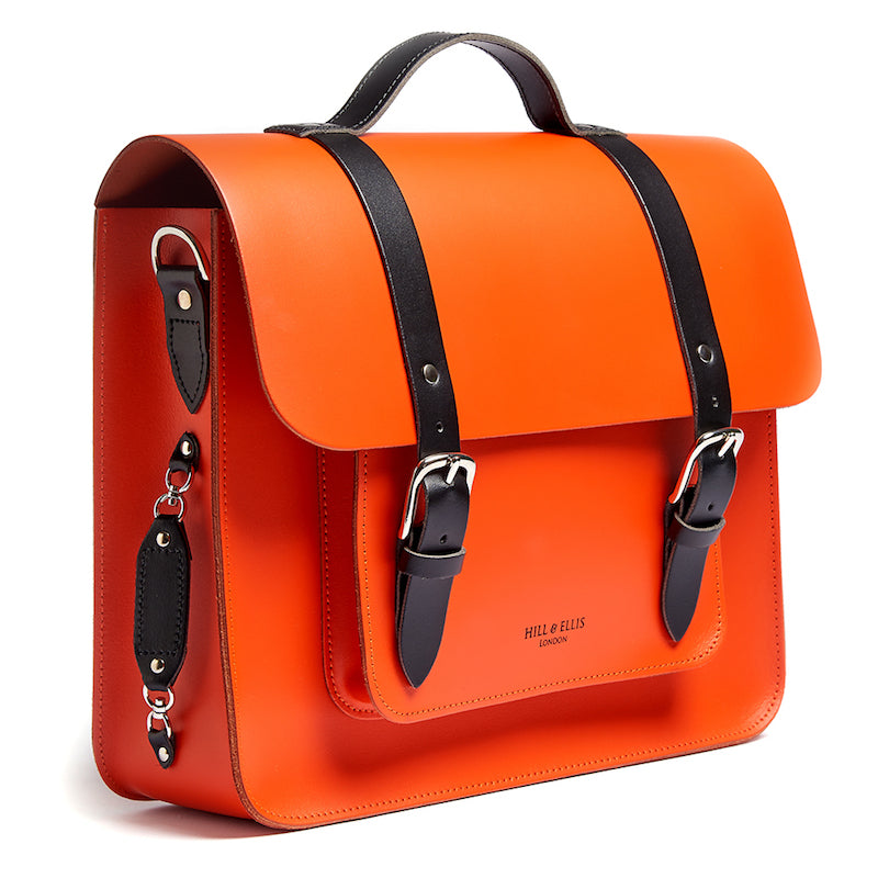 Orange leather satchel cycle bag side view