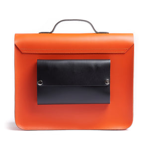 Orange leather satchel cycle bag back view