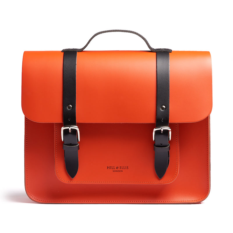 Orange leather satchel cycle bag front view
