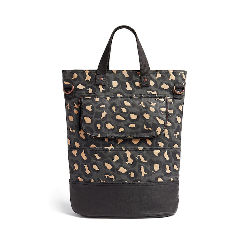 Leopard print canvas cycling bag back view