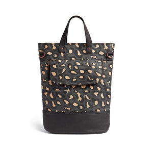 Load image into Gallery viewer, Leopard print canvas cycling bag back view
