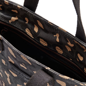Leopard print canvas cycling bag detail of the inside