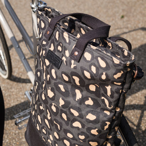 Leopard print canvas cycling bag on bicycle
