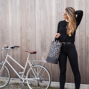 Load image into Gallery viewer, Leopard print canvas cycling bag with model