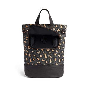 Leopard print canvas cycling bag detail of pannier hooks